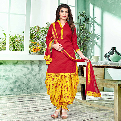 Stunning Red And Yellow Colored Semi-Patiala Style Cotton Jacquard Dress Material