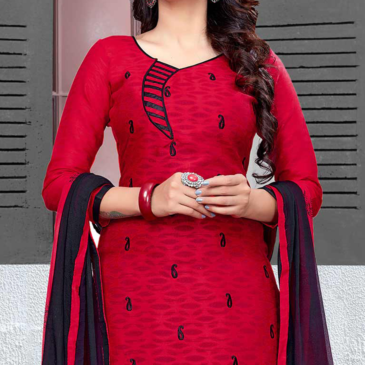 Ravishing Red-Black Colored Embroidered Cotton Jacquard Dress Material