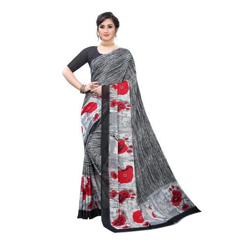 Trendy Grey Colored Casual Wear Printed Georgette Saree