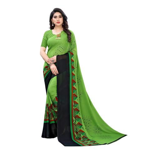 Elegant Green Colored Casual Wear Printed Georgette Saree