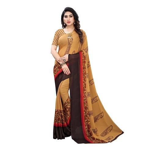 Radiant Beige Colored Casual Wear Printed Georgette Saree