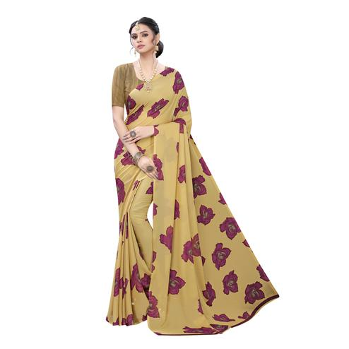 Energetic Beige  Colored Casual Wear Floral Printed Georgette Saree