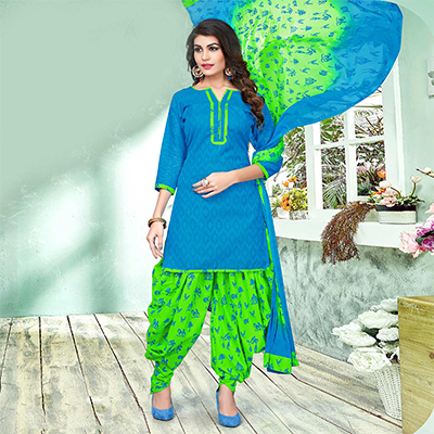 Adorable Blue And Green Colored Semi-Patiala Style Cotton Jacquard Dress Material