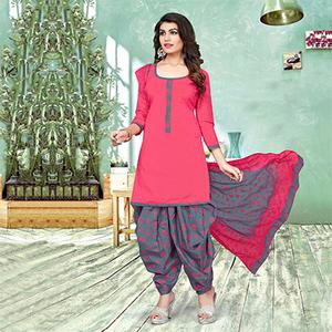 Attractive Pink And Gray Colored Semi-Patiala Style Cotton Jacquard Dress Material