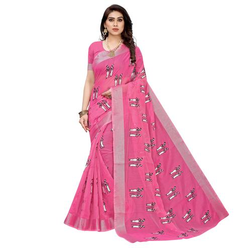 Exotic Pink Colored Casual Wear Printed Chanderi Cotton Saree