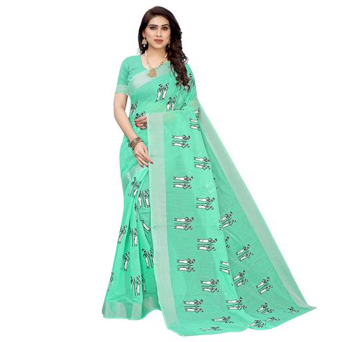 Sophisticated Rama Colored Casual Wear Printed Chanderi Cotton Saree