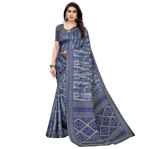 Trendy Blue Colored Casual Wear Printed Crepe Silk Saree