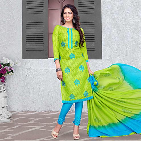 Lovely Green Blue Colored Embroidered Cotton Jacquard Dress Material