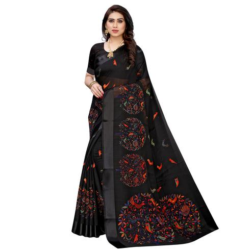 Gleaming Black Colored Casual Wear Printed  Linen Saree
