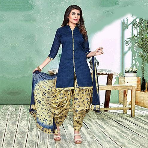 Charming Blue And Beige Colored Semi-Patiala Style Cotton Jacquard Dress Material
