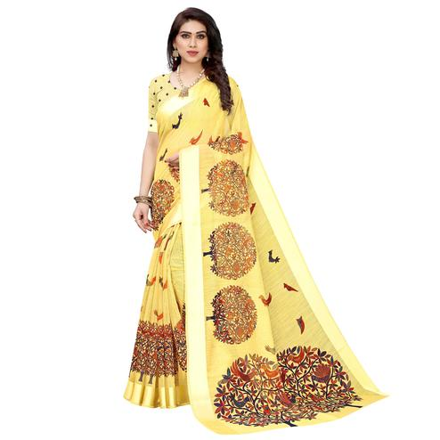 Refreshing Yellow Colored Casual Wear Printed  Linen Saree