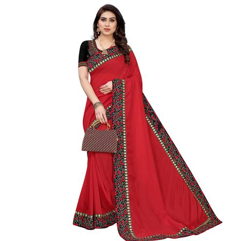 Hypnotic Red Colored Partywear Embroidered Velvet Saree