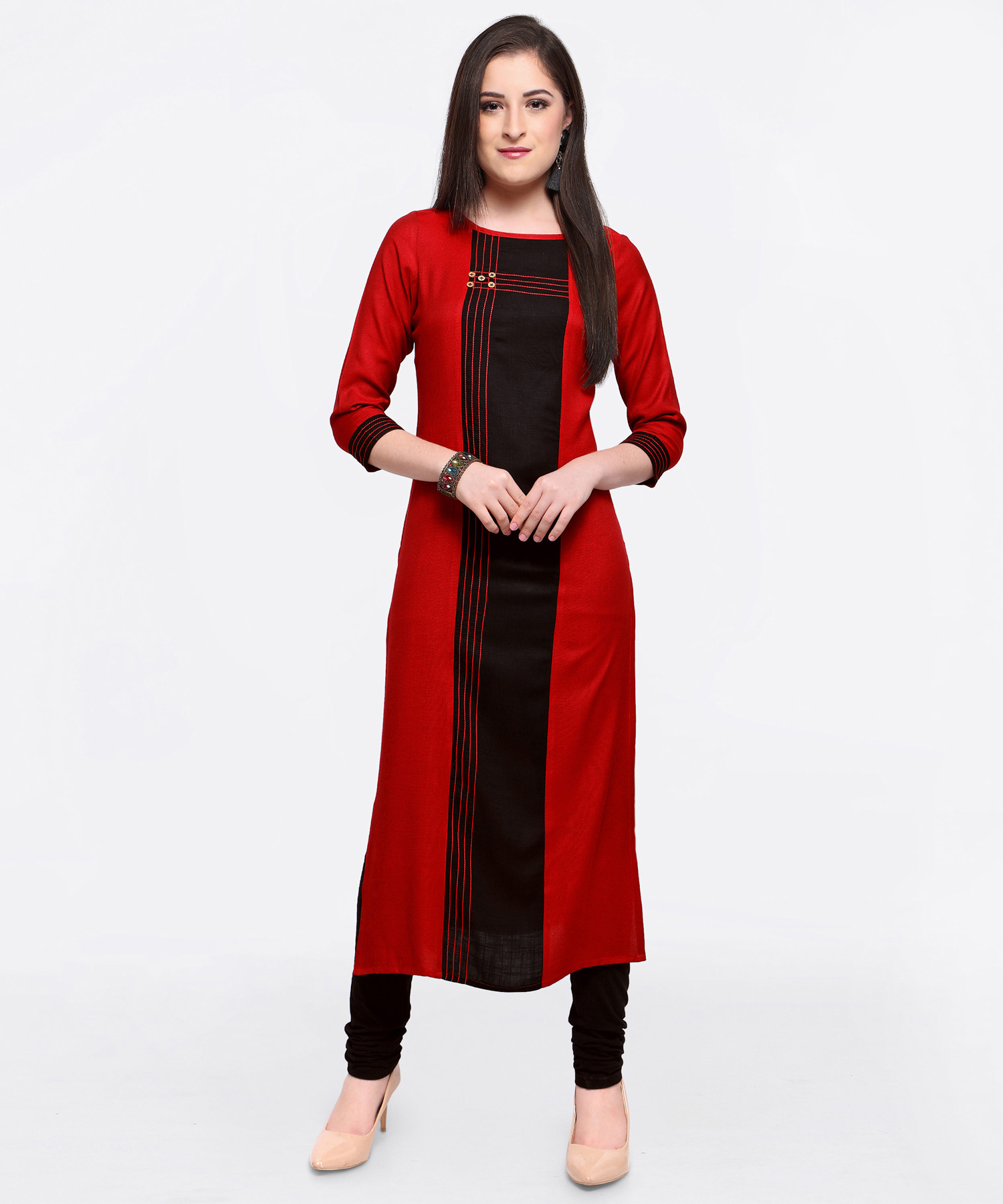 Ravishing Red-Black Colored Fancy Designer Cotton Slub Kurti