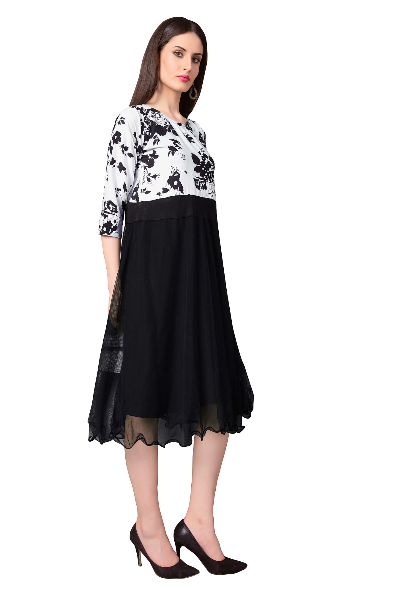 White - Black Printed Party Wear Dress