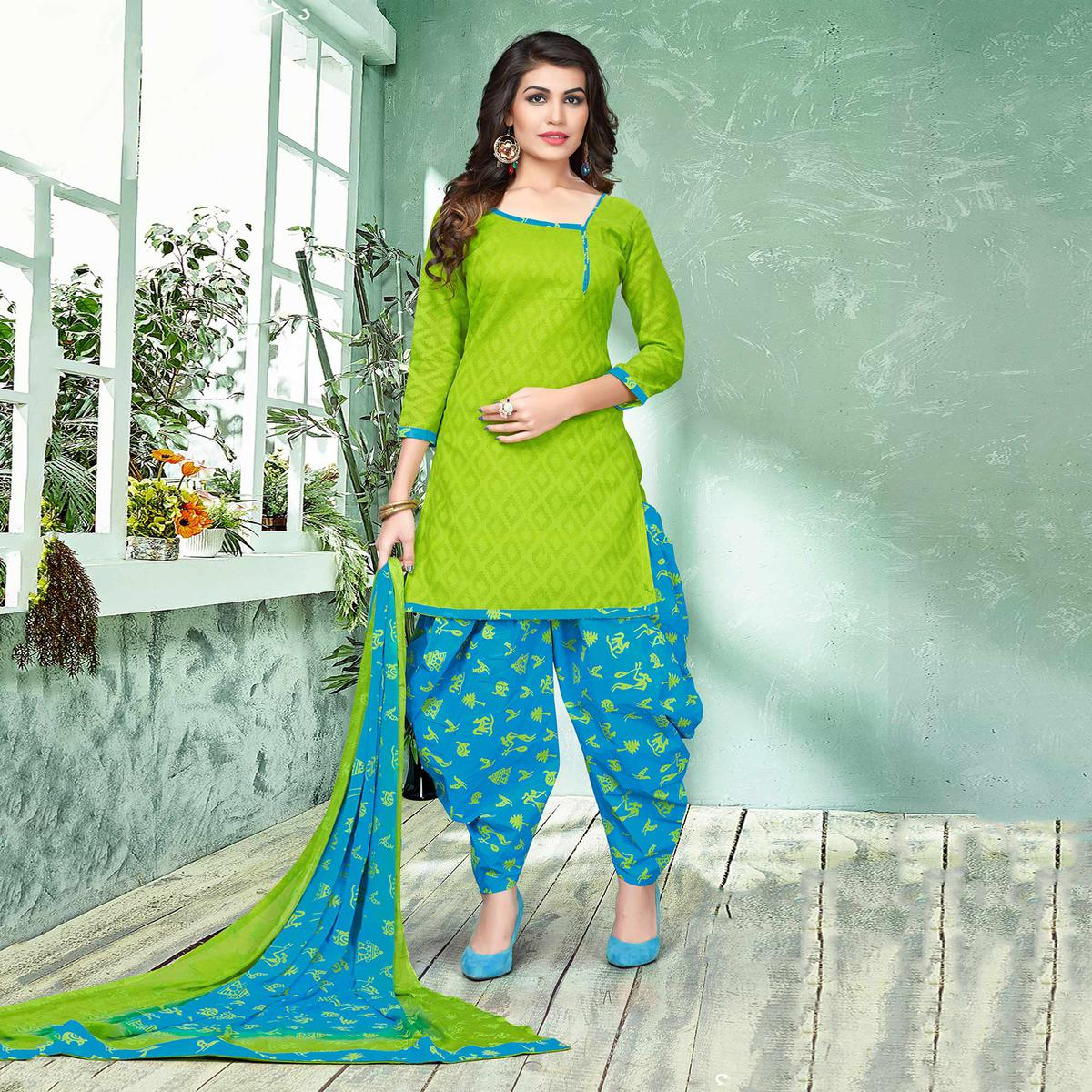 Beautiful Green And Blue Colored Semi-Patiala Style Cotton Jacquard Dress Material