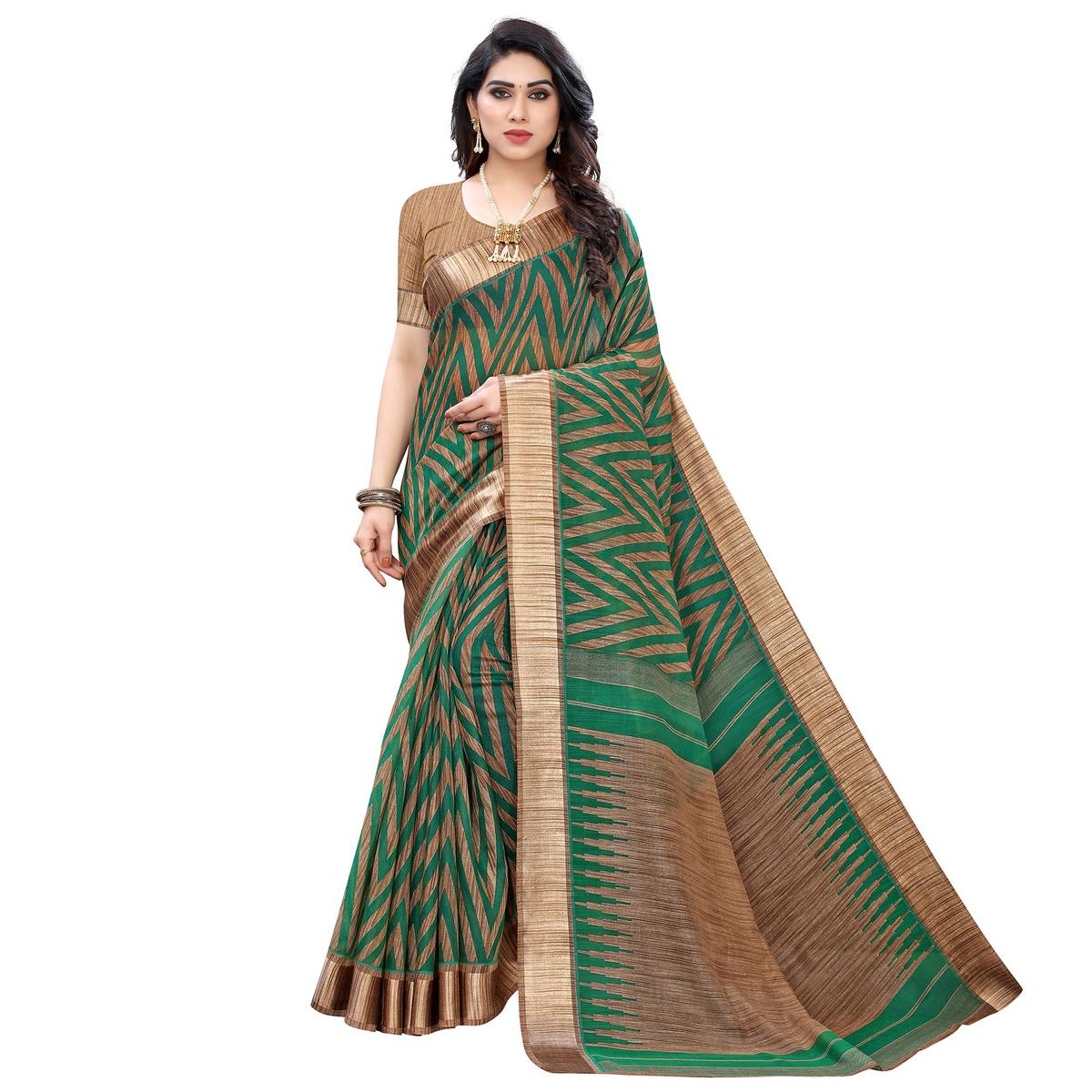 Surpassing Green Colored Festive Wear Printed Linen Saree