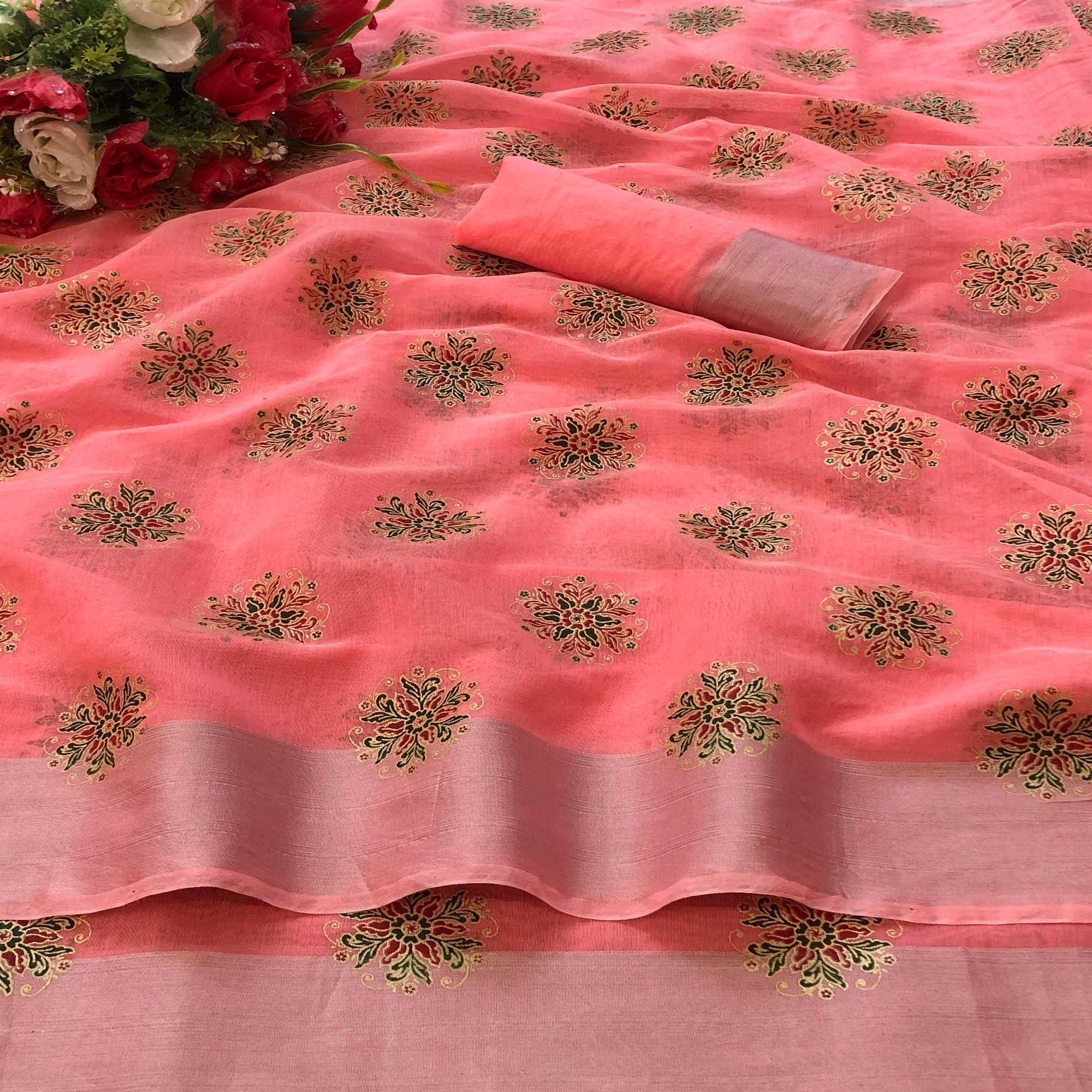 Exclusive Peach Colored Casual Wear Printed Chanderi Cotton Saree