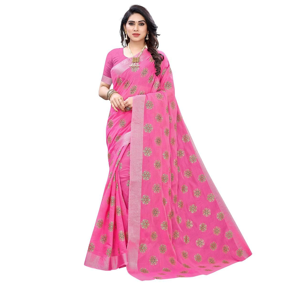 Capricious Pink Colored Casual Wear Printed Chanderi Cotton Saree