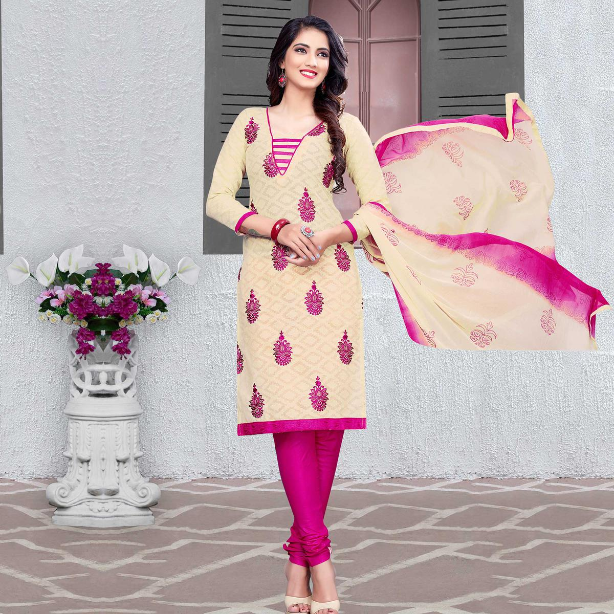Classy Cream-Pink Colored Embroidered Cotton Jacquard Dress Material
