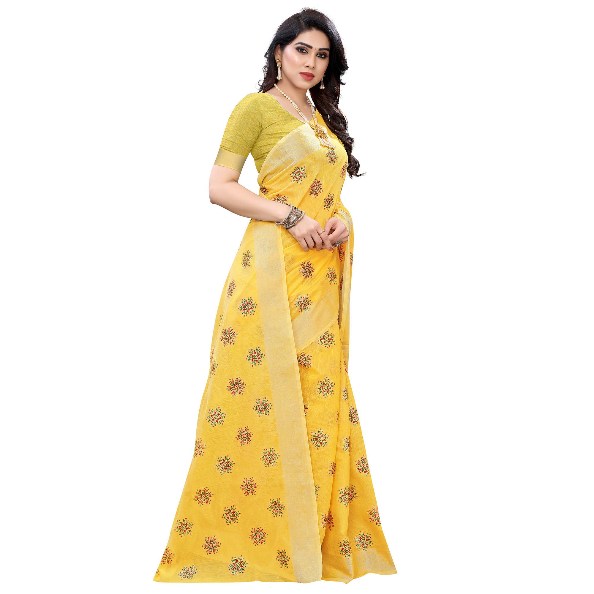 Groovy Yellow Colored Casual Wear Printed Chanderi Cotton Saree