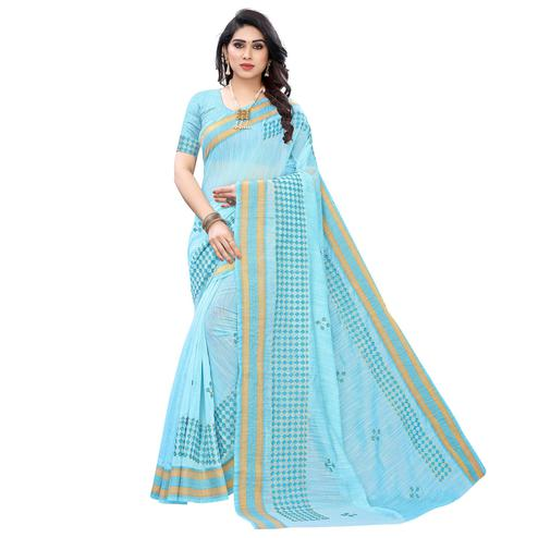 Adorning Blue Colored Casual Wear Printed Chanderi Cotton Saree