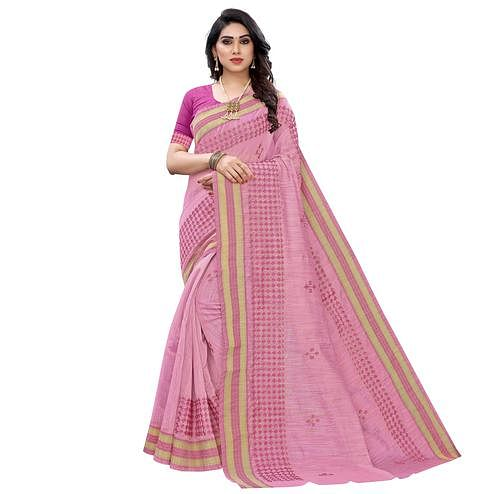 Flaunt Pink Colored Casual Wear Printed Chanderi Cotton Saree