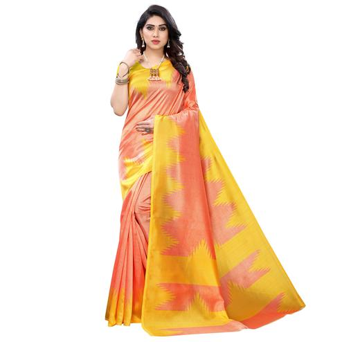 Flirty Orange Colored Festive Wear Printed Art Silk Saree