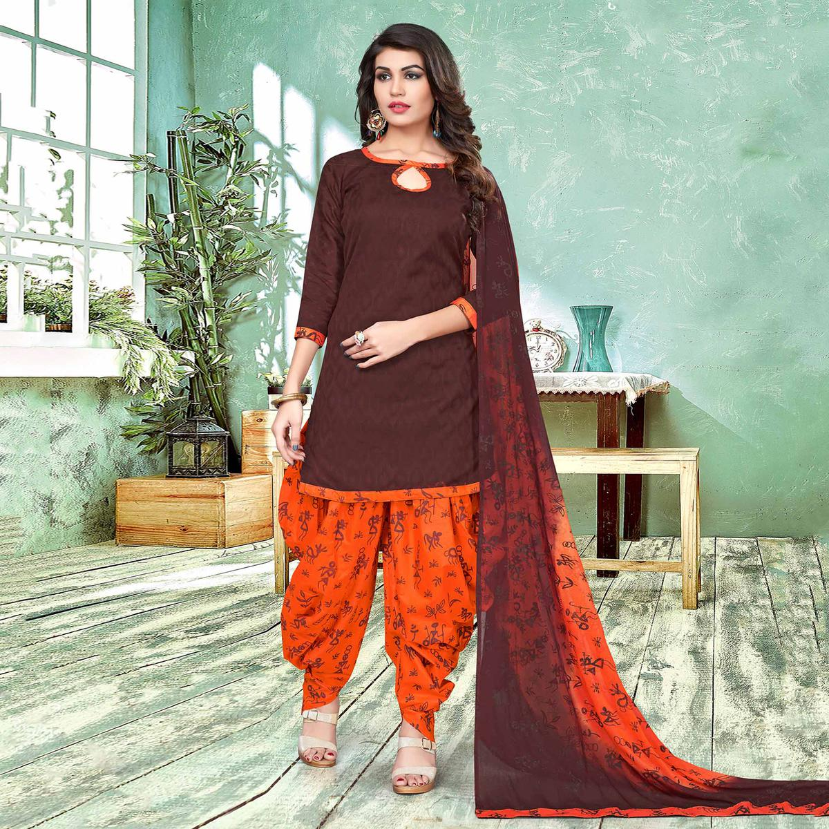 Stylish Brown And Orange Colored Semi-Patiala Style Cotton Jacquard Dress Material