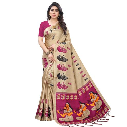 Ravishing Beige - Wine Colored Festive Wear Printed Khadi Silk Saree