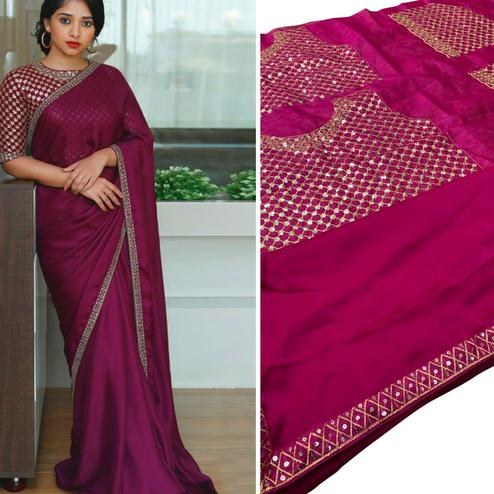 Attractive Purple Colored Partywear Solid Rangoli Silk Saree