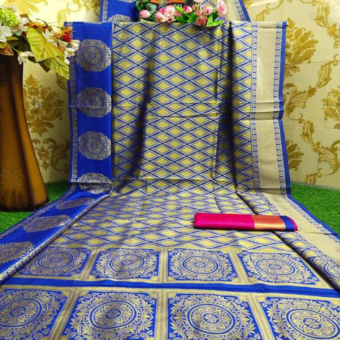 Eye-catching Royal Blue Colored Festive Wear Woven Soft Lichi Silk Saree