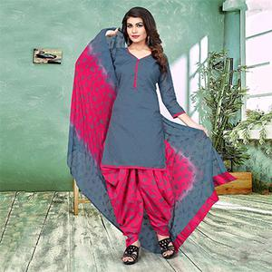 Gorgeous Gray And Pink Colored Semi-Patiala Style Cotton Jacquard Dress Material