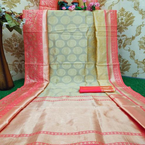 Fantastic Cream Colored Festive Wear Woven Soft Lichi Silk Saree