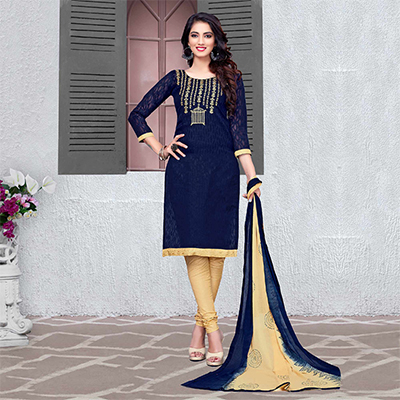 Beautiful Blue-Beige Colored Embroidered Cotton Jacquard Dress Material