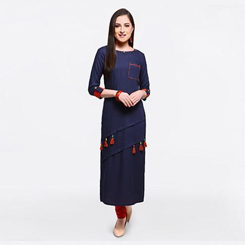 Classy Navy Blue Colored Fancy Designer Cotton Slub Kurti