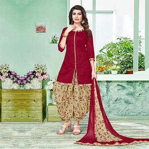 Graceful Maroon And Beige Colored Semi-Patiala Style Cotton Jacquard Dress Material