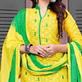 Lavishing Yellow-Green Colored Embroidered Cotton Jacquard Dress Material