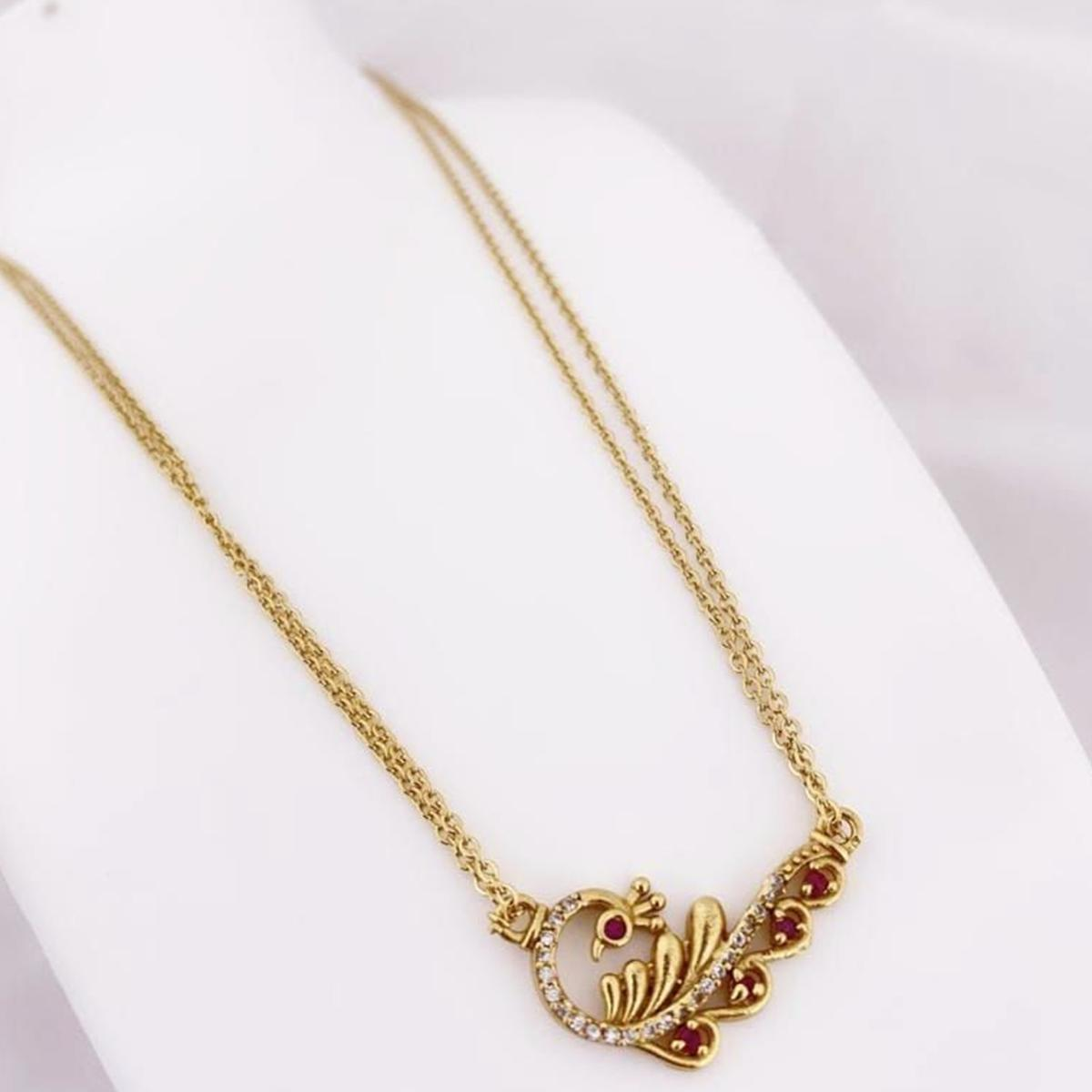 Vihaa Jewels - Copper Gold Plated Chain Pendant For Women And Girl