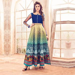 Multicolored Digital Printed Silk Gown