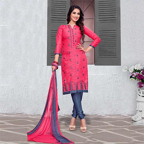 Pretty Pink-Gray Colored Embroidered Cotton Jacquard Dress Material