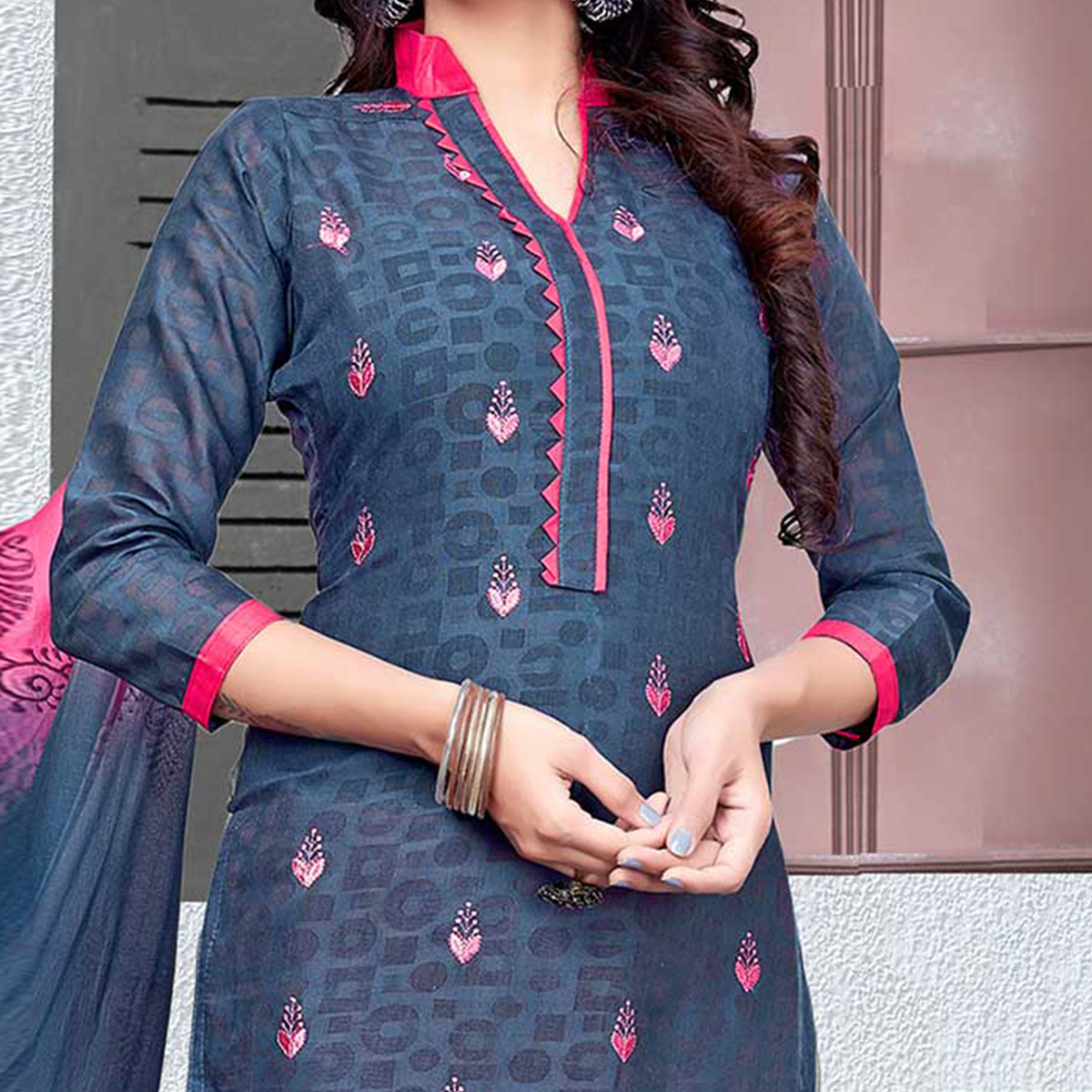 Gorgeous Gray-Pink Colored Embroidered Cotton Jacquard Dress Material