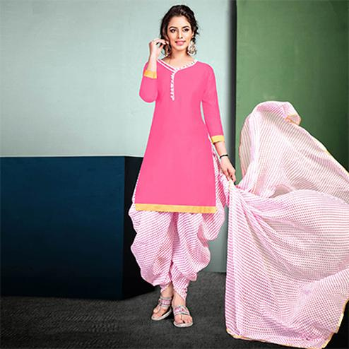 Beautiful Pink Colored Semi-Patiala Style Cotton Dress Material