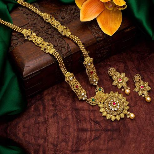Vihaa Jewels - Alloy Gold Plated Traditional Jewellery Set For Women And Girl
