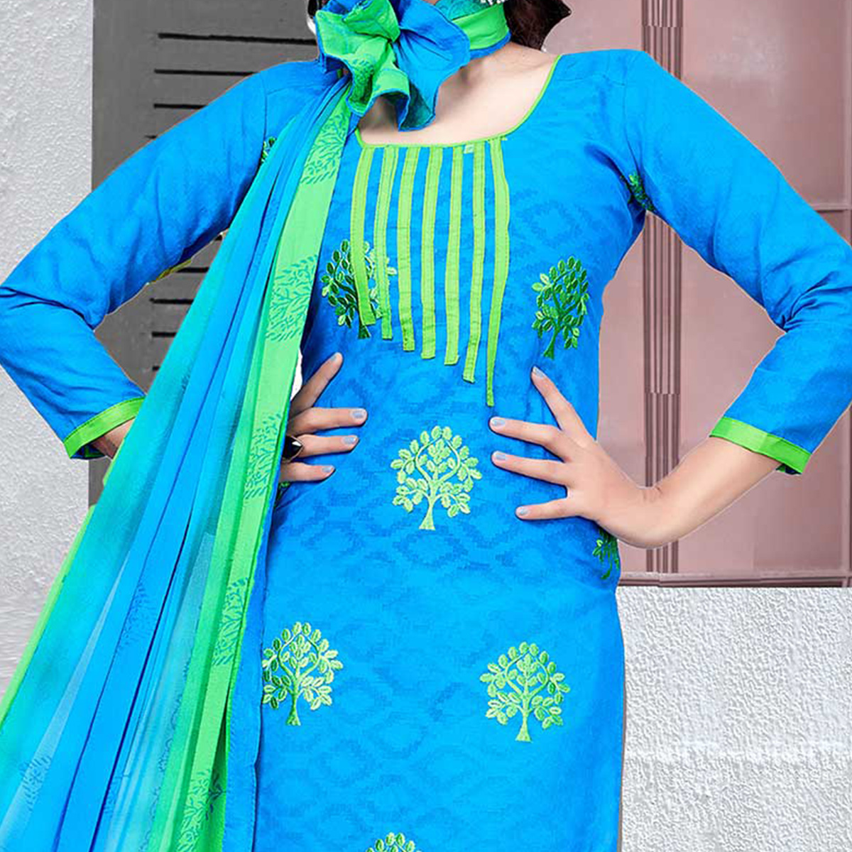 Blooming Blue-Green Colored Embroidered Cotton Jacquard Dress Material