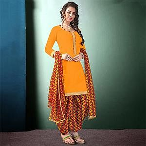 Lovely Yellow Colored Semi-Patiala Style Cotton Dress Material