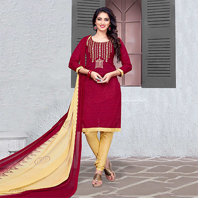 Marvellous Maroon-Beige Colored Embroidered Cotton Jacquard Dress Material