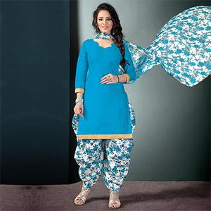 Blooming Light Blue Colored Semi-Patiala Style Cotton Dress Material