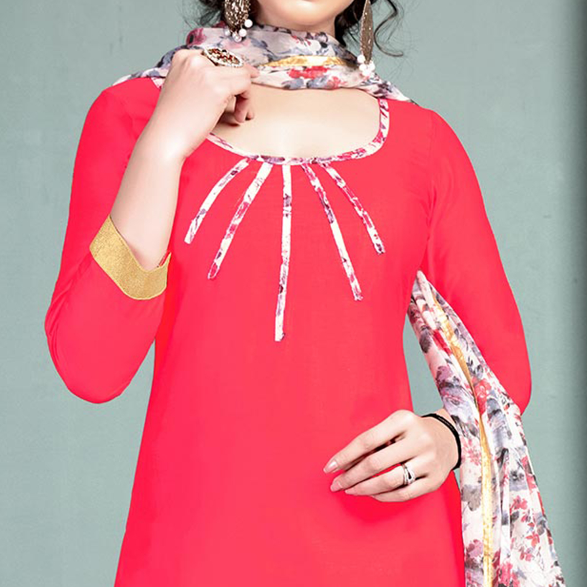 Pretty Pink Colored Semi-Patiala Style Cotton Dress Material
