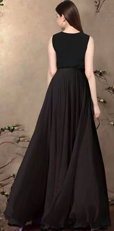 Black Floral Work Party Wear Gown