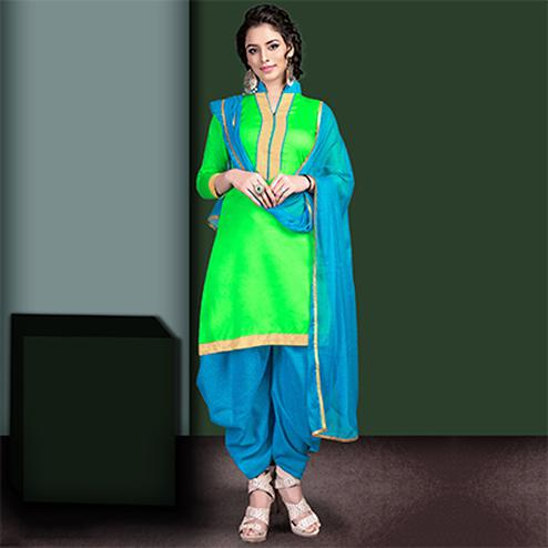 Graceful Green Colored Semi-Patiala Style Cotton Dress Material